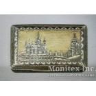 Серебряный портсигар с изображением древнерусского города