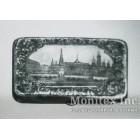 Серебряный портсигар с видом на Московский Кремль
