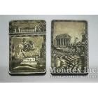 Серебряный портсигар с отделением для спичек, украшенный видами Санкт-Петербурга на двух створках
