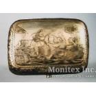 Серебряный портсигар с изображением народного гуляния
