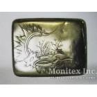Серебряный портсигар с изображением деревенского домика