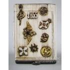 Серебряный портсигар, украшенный живописными эмалями и полудрагоценными камнями