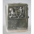 Серебряный портсигар в стиле модерн, украшенный изображением на мифологическую тему