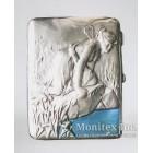 Серебряный портсигар в стиле модерн, с изображением на мифологическую тему