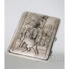 Серебряный портсигар с изображением животных