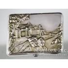Серебряный портсигар с изображением боярина и боярыни