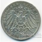 Серебряная монета 3 Марки 1908 год. Пруссия