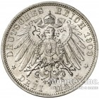 Серебряная монета 3 Марки 1909 год. Рейс
