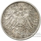 Серебряная монета 2 Марки 1911 год. Саксен-Кобург-Гота