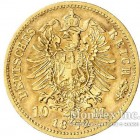 Золотая монета 10 Марок 1872 год. Мекленбург-Шверин