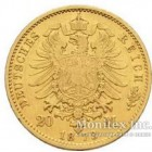 Золотая монета 10 Марок 1873 год. Мекленбург-Штрелиц
