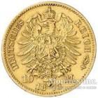 Золотая монета 10 Марок 1873 год. Саксония