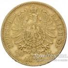 Золотая монета 10 Марок 1872 год. Баден