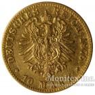 Золотая монета 10 Марок 1876 год. Баден
